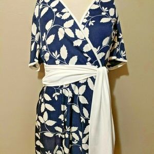 Blue And White 90s Secretary Swing Dress M